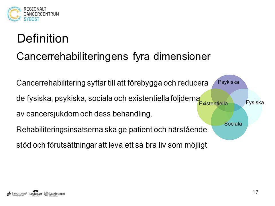 Definition Cancerrehabiliteringens fyra dimensioner