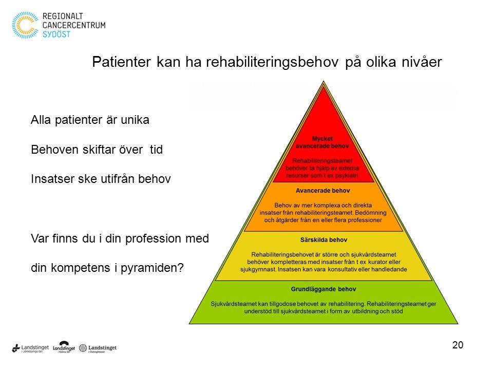 Patienter kan ha rehabiliteringsbehov på olika nivåer