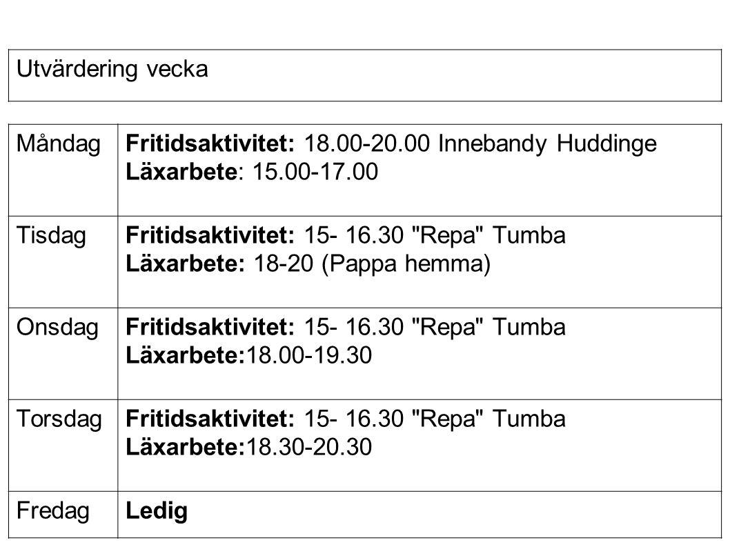 Fritidsaktivitet: 15- 16.30 Repa Tumba Läxarbete:18.00-19.30