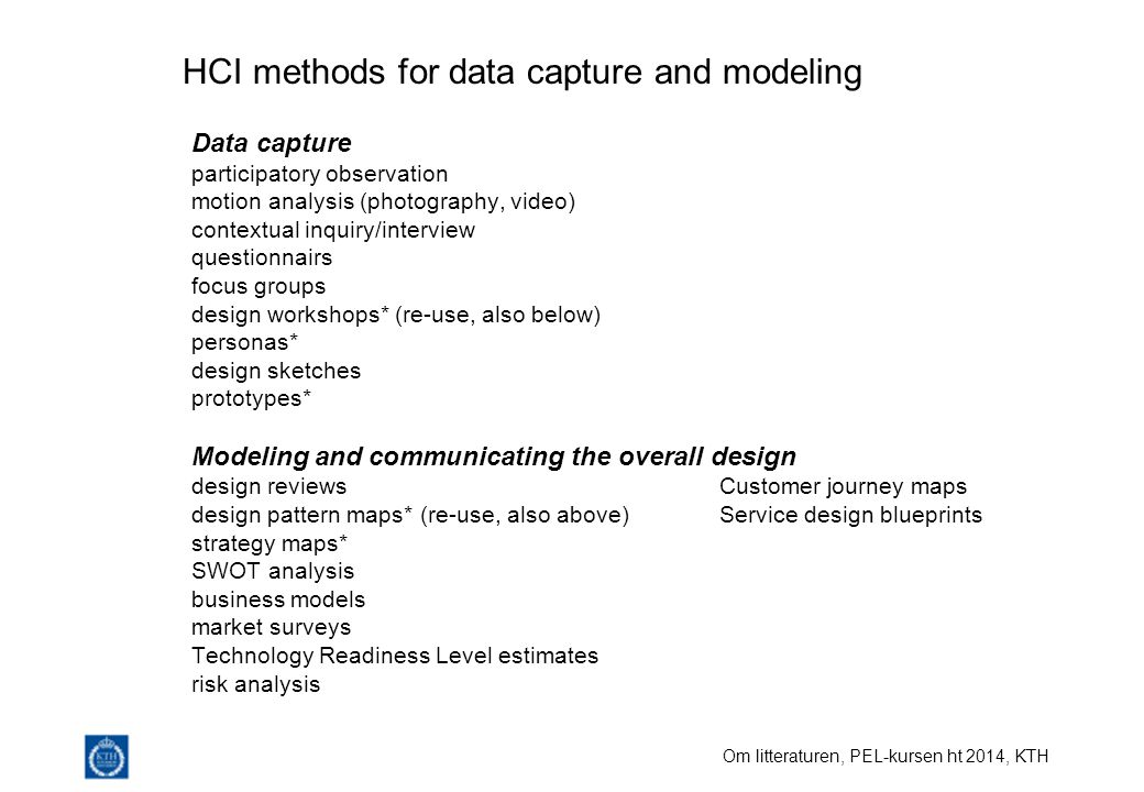 HCI methods for data capture and modeling