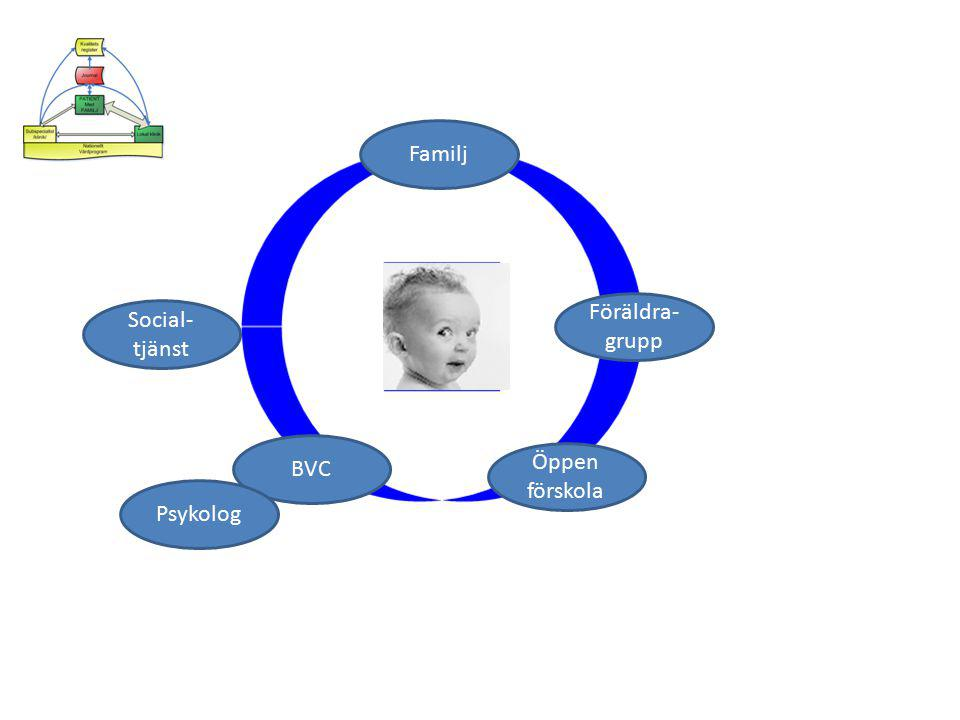 Familj Föräldra-grupp Social-tjänst BVC Öppen förskola Psykolog