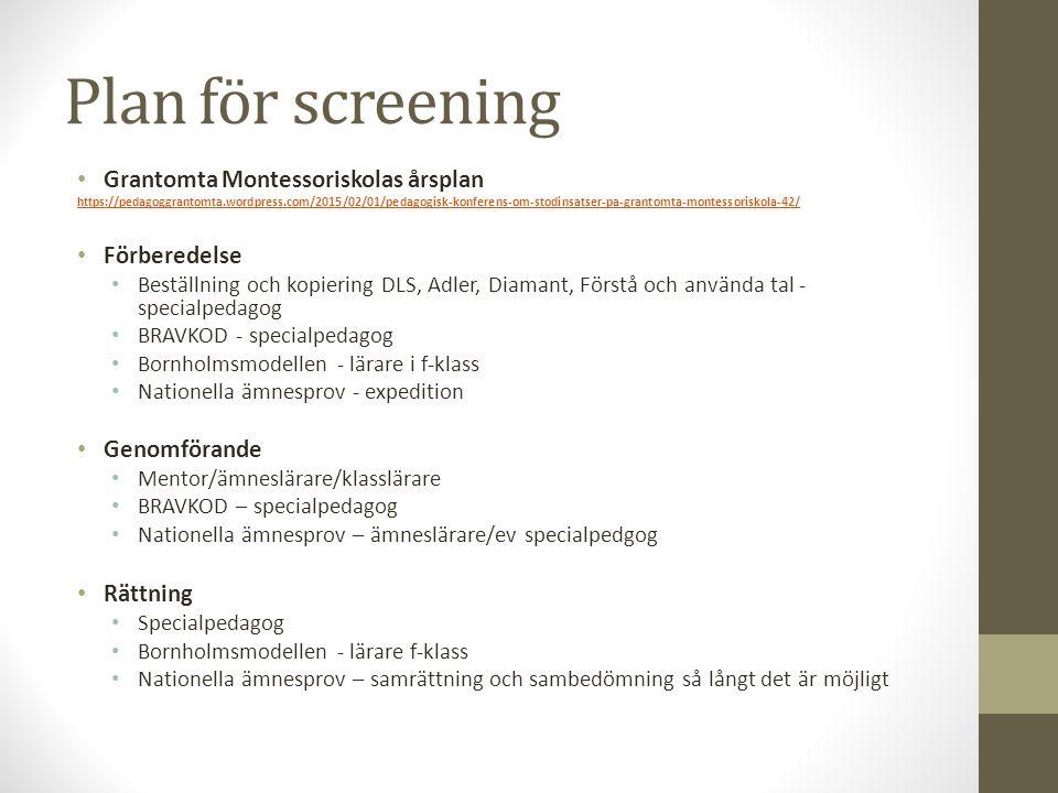 Plan för screening Grantomta Montessoriskolas årsplan Förberedelse