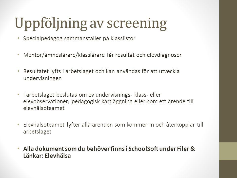 Uppföljning av screening