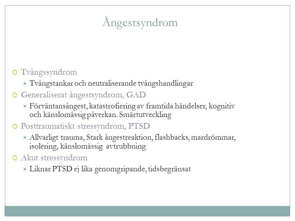 Ångestsyndrom Tvångssyndrom Generaliserat ångestsyndrom, GAD