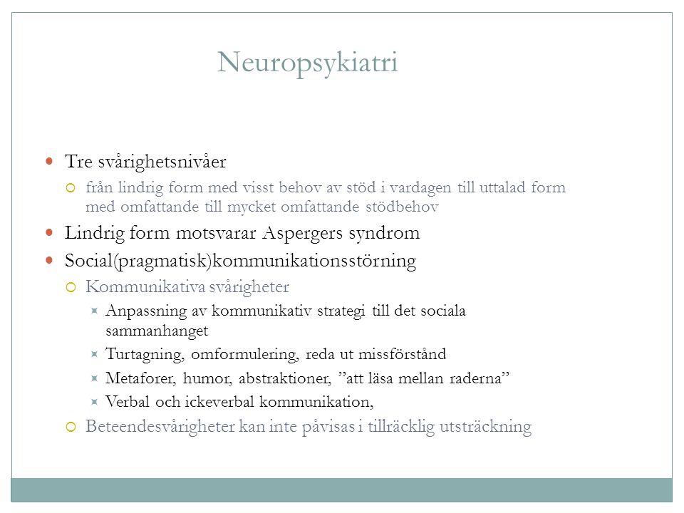 Neuropsykiatri Tre svårighetsnivåer