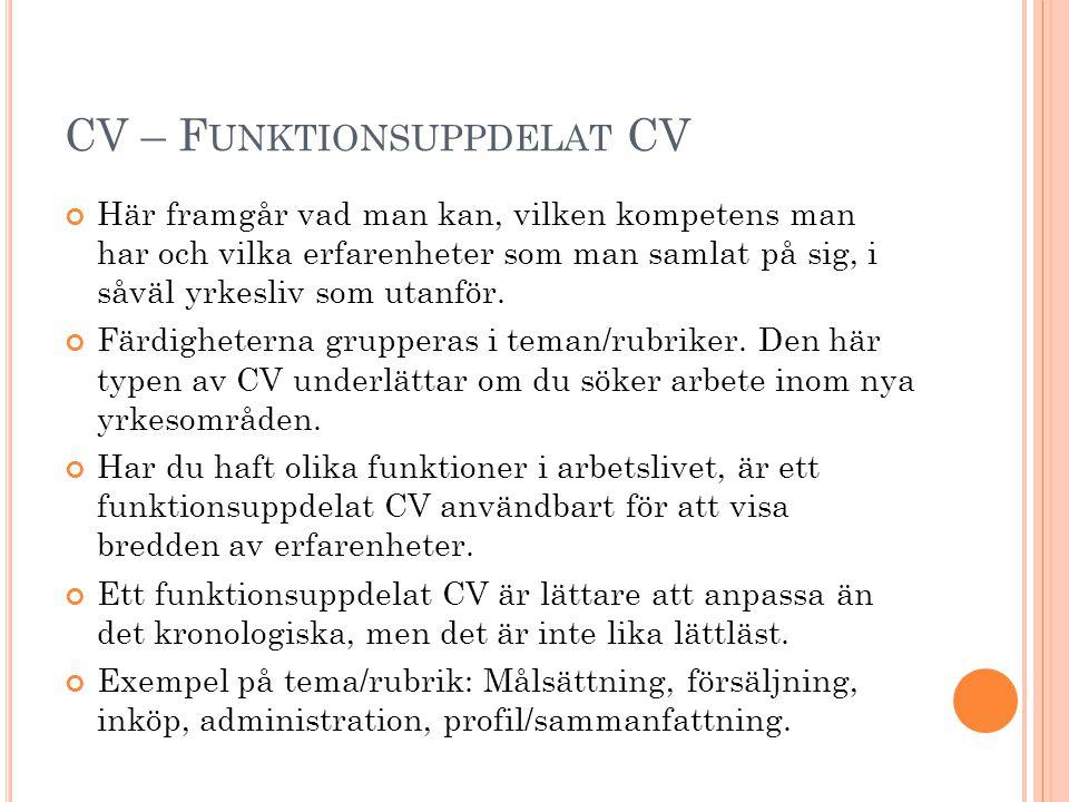 CV – Funktionsuppdelat CV