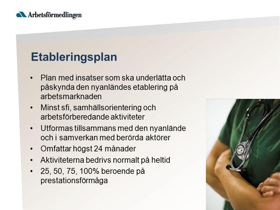 Etableringsplan Plan med insatser som ska underlätta och påskynda den nyanländes etablering på arbetsmarknaden.