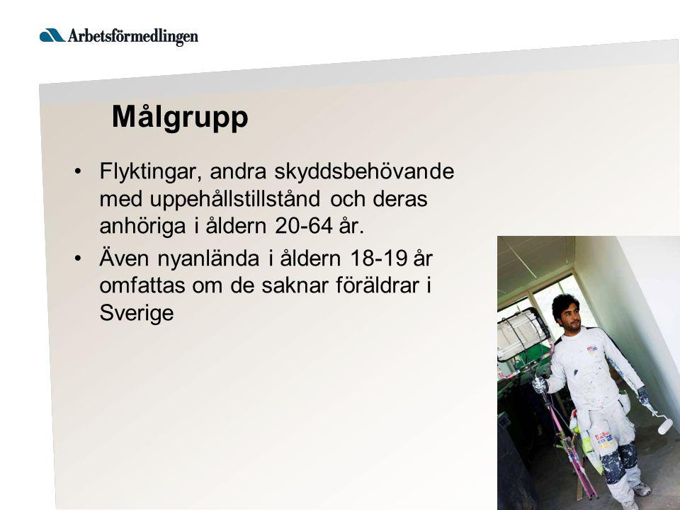 Målgrupp Flyktingar, andra skyddsbehövande med uppehållstillstånd och deras anhöriga i åldern 20-64 år.