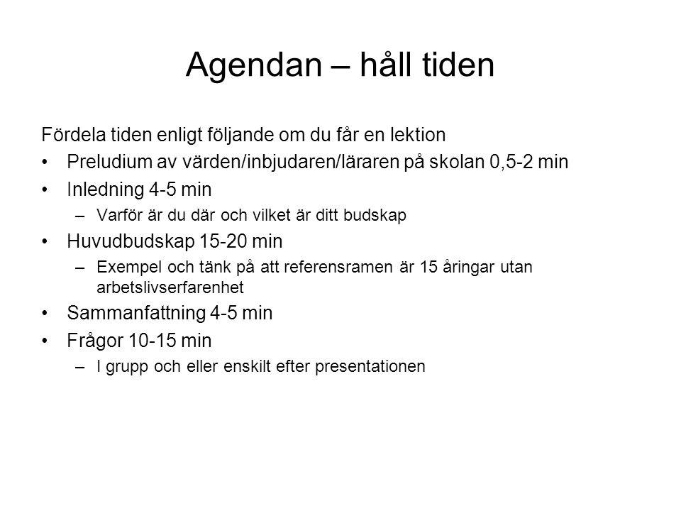 Agendan – håll tiden Fördela tiden enligt följande om du får en lektion. Preludium av värden/inbjudaren/läraren på skolan 0,5-2 min.