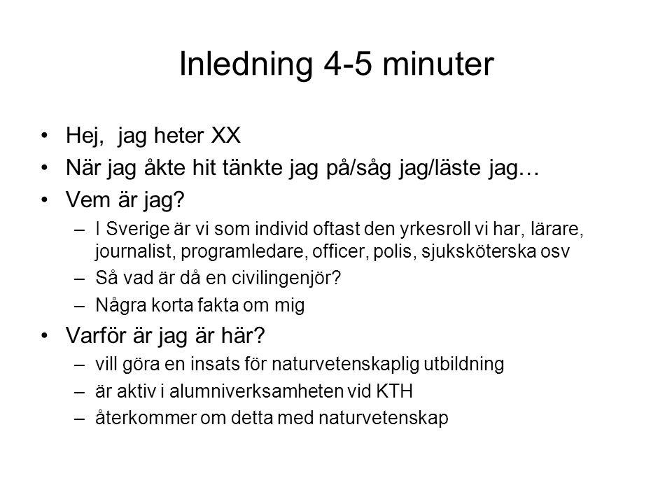 Inledning 4-5 minuter Hej, jag heter XX