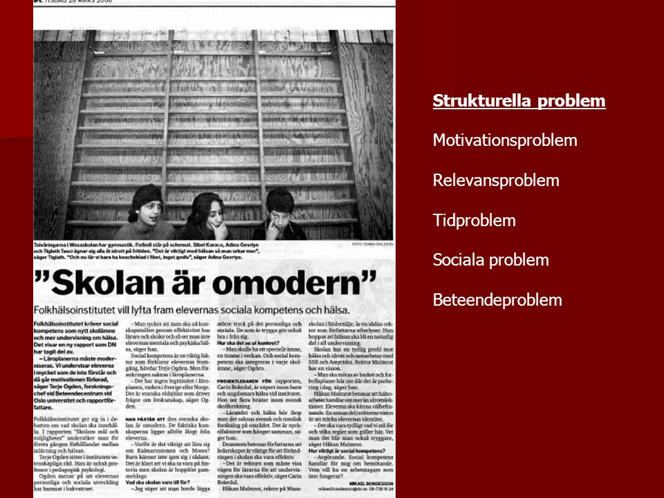 Strukturella problem Motivationsproblem Relevansproblem Tidproblem Sociala problem Beteendeproblem