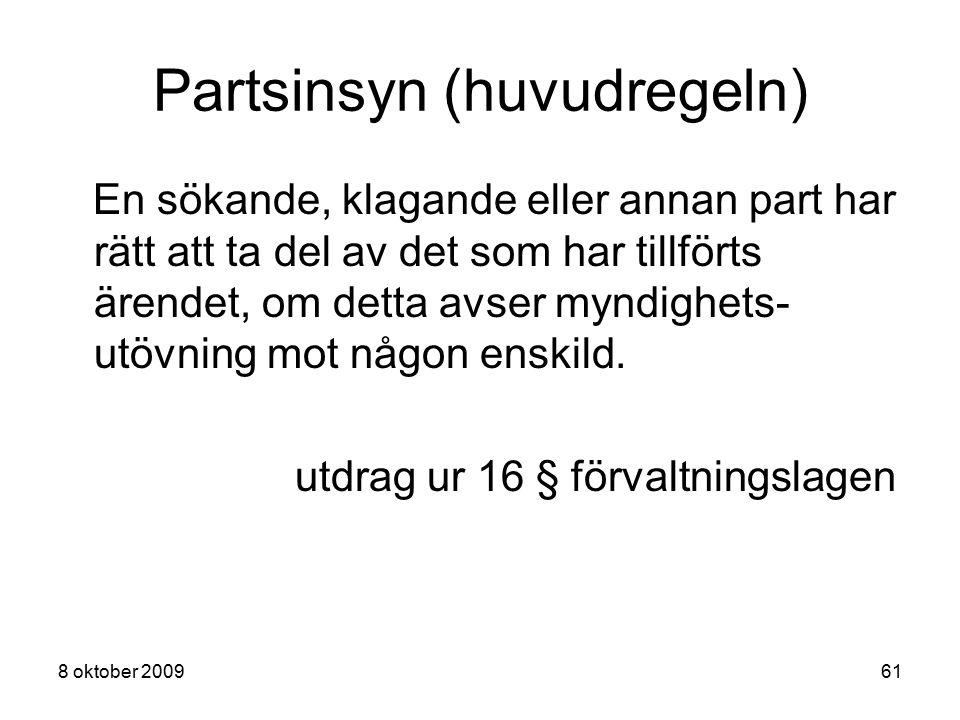 Partsinsyn (huvudregeln)