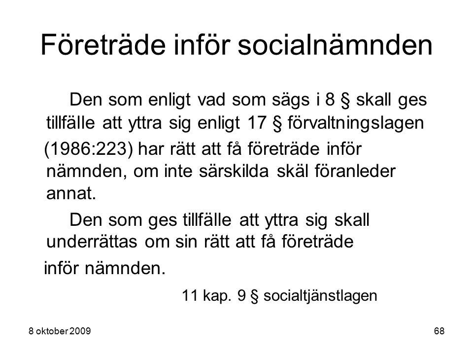 Företräde inför socialnämnden