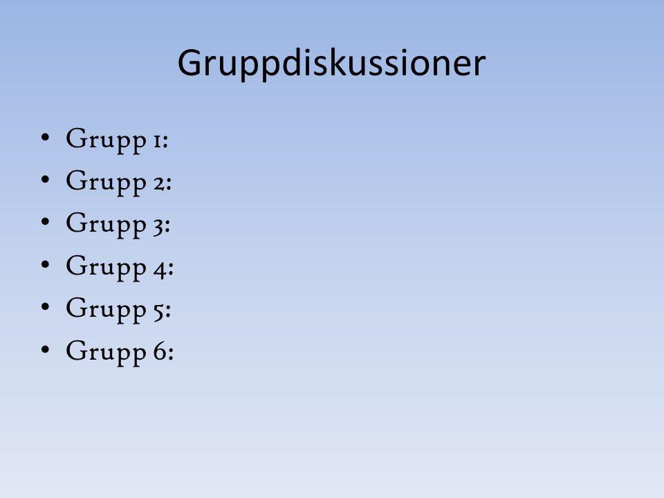 Gruppdiskussioner Grupp 1: Grupp 2: Grupp 3: Grupp 4: Grupp 5: