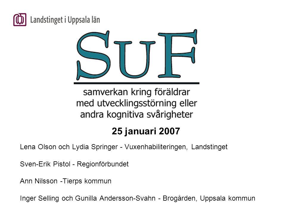25 januari 2007 Lena Olson och Lydia Springer - Vuxenhabiliteringen, Landstinget. Sven-Erik Pistol - Regionförbundet.