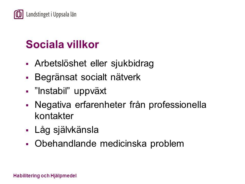 Sociala villkor Arbetslöshet eller sjukbidrag