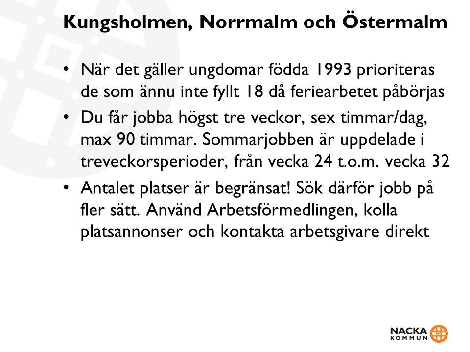 Kungsholmen, Norrmalm och Östermalm