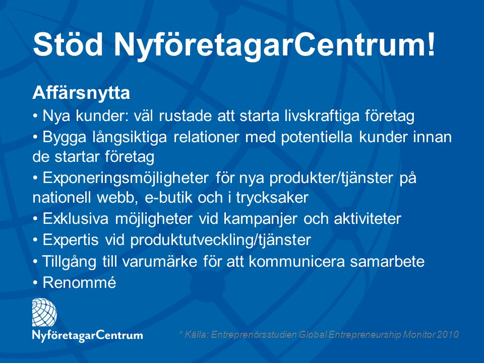 Stöd NyföretagarCentrum!