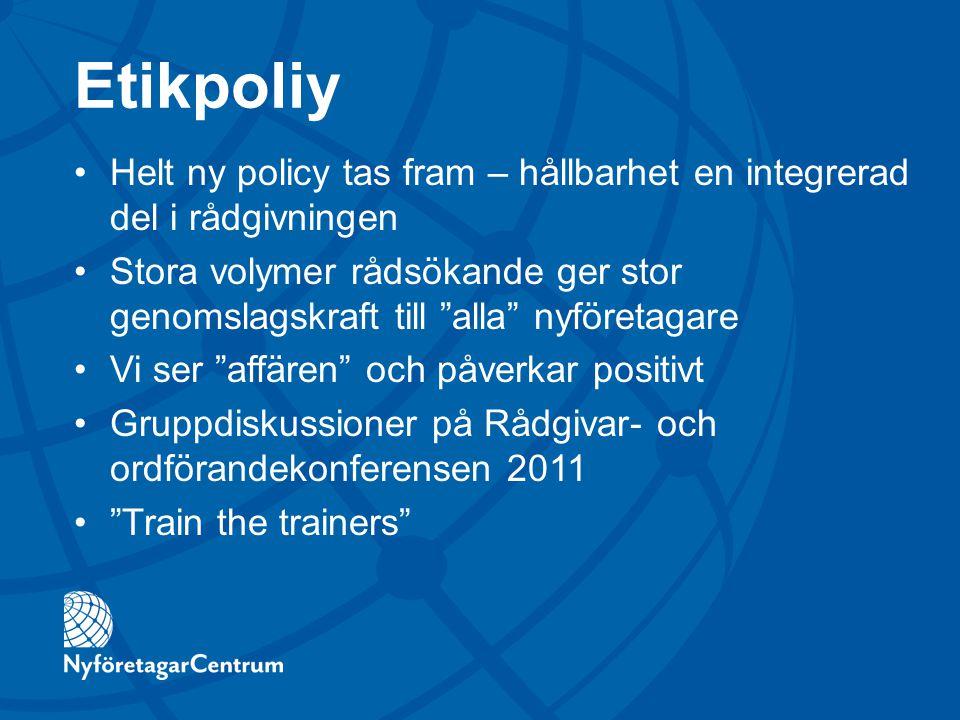 Etikpoliy Helt ny policy tas fram – hållbarhet en integrerad del i rådgivningen.