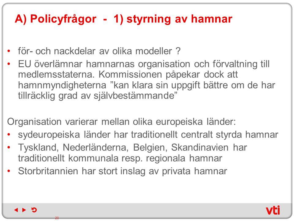 A) Policyfrågor - 1) styrning av hamnar