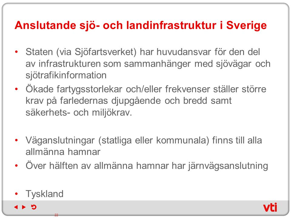 Anslutande sjö- och landinfrastruktur i Sverige
