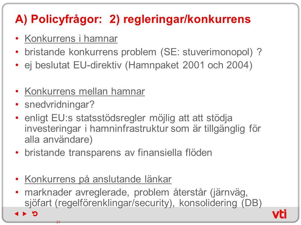 A) Policyfrågor: 2) regleringar/konkurrens