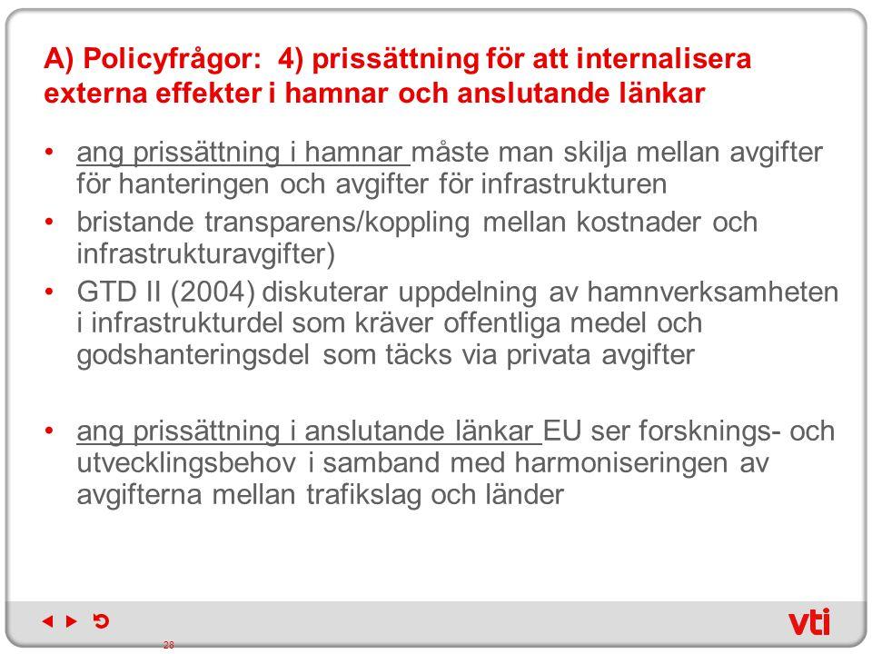 A) Policyfrågor: 4) prissättning för att internalisera externa effekter i hamnar och anslutande länkar