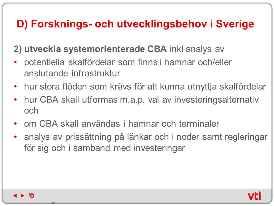 D) Forsknings- och utvecklingsbehov i Sverige