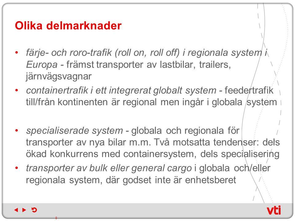 Olika delmarknader färje- och roro-trafik (roll on, roll off) i regionala system i Europa - främst transporter av lastbilar, trailers, järnvägsvagnar.