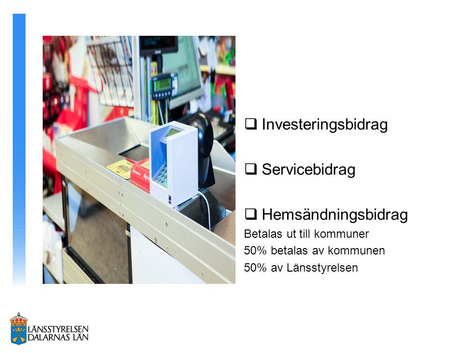 Investeringsbidrag Servicebidrag Hemsändningsbidrag
