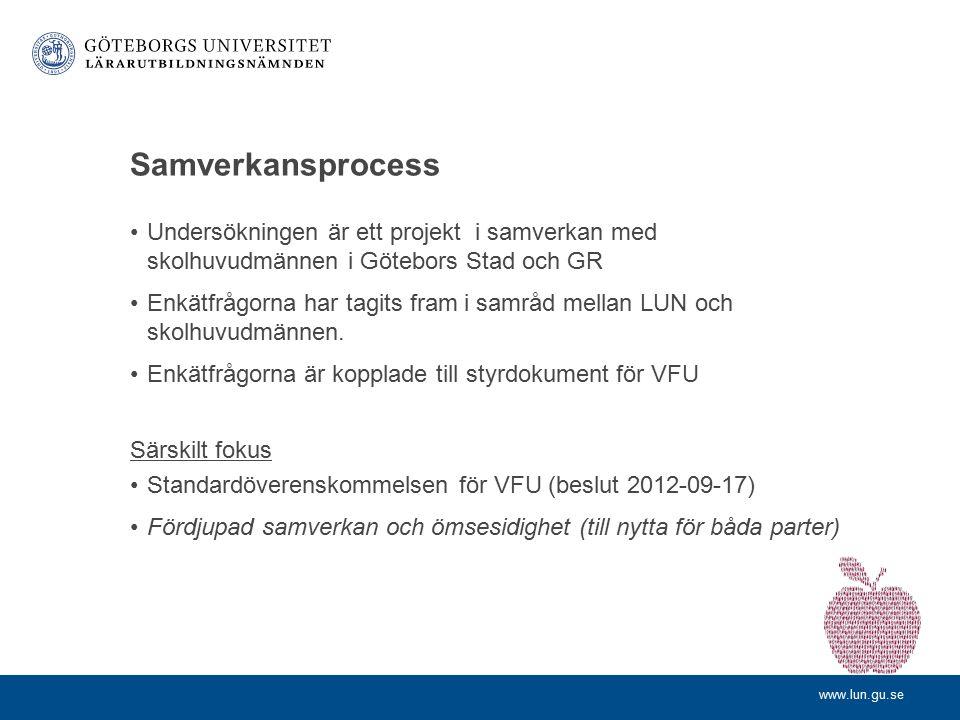 Samverkansprocess Undersökningen är ett projekt i samverkan med skolhuvudmännen i Götebors Stad och GR.