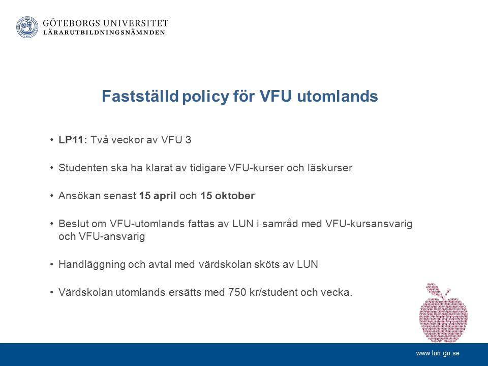 Fastställd policy för VFU utomlands