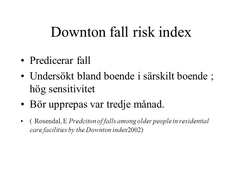 Downton fall risk index