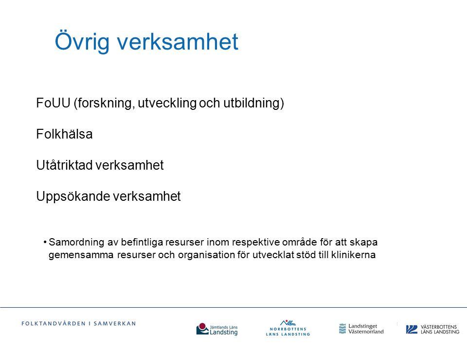 Övrig verksamhet FoUU (forskning, utveckling och utbildning) Folkhälsa Utåtriktad verksamhet Uppsökande verksamhet.