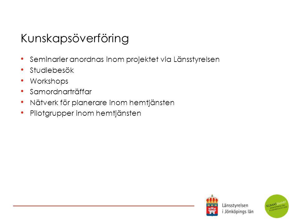 Kunskapsöverföring Seminarier anordnas inom projektet via Länsstyrelsen. Studiebesök. Workshops. Samordnarträffar.