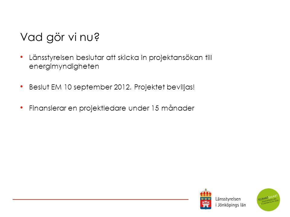 Vad gör vi nu Länsstyrelsen beslutar att skicka in projektansökan till energimyndigheten. Beslut EM 10 september 2012. Projektet beviljas!