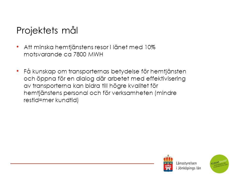 Projektets mål Att minska hemtjänstens resor i länet med 10% motsvarande ca 7800 MWH.