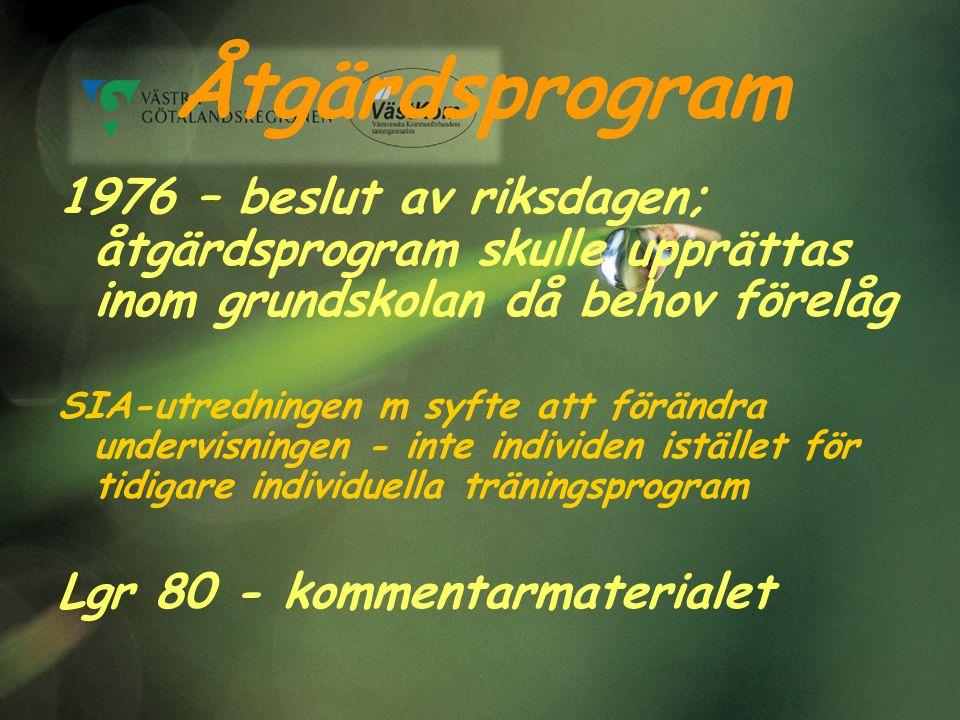 Åtgärdsprogram 1976 – beslut av riksdagen; åtgärdsprogram skulle upprättas inom grundskolan då behov förelåg.