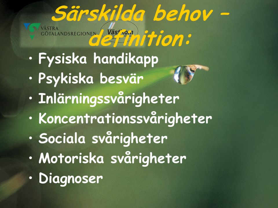 Särskilda behov – definition: