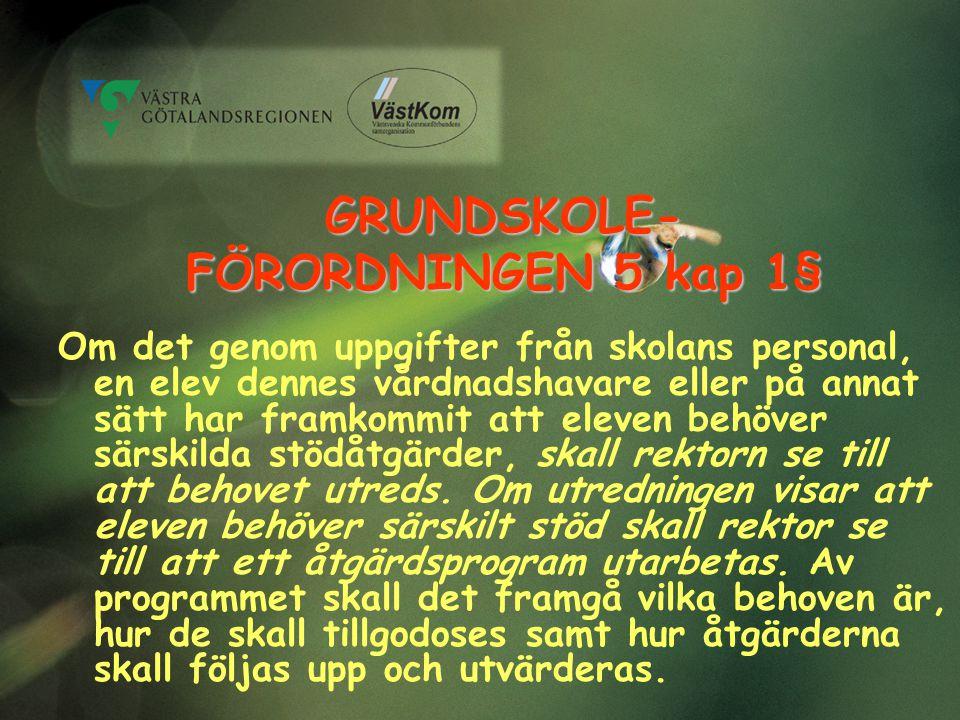 GRUNDSKOLE- FÖRORDNINGEN 5 kap 1§