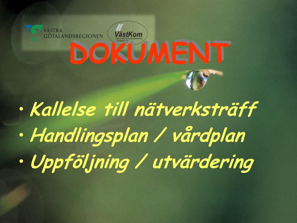 DOKUMENT Kallelse till nätverksträff Handlingsplan / vårdplan
