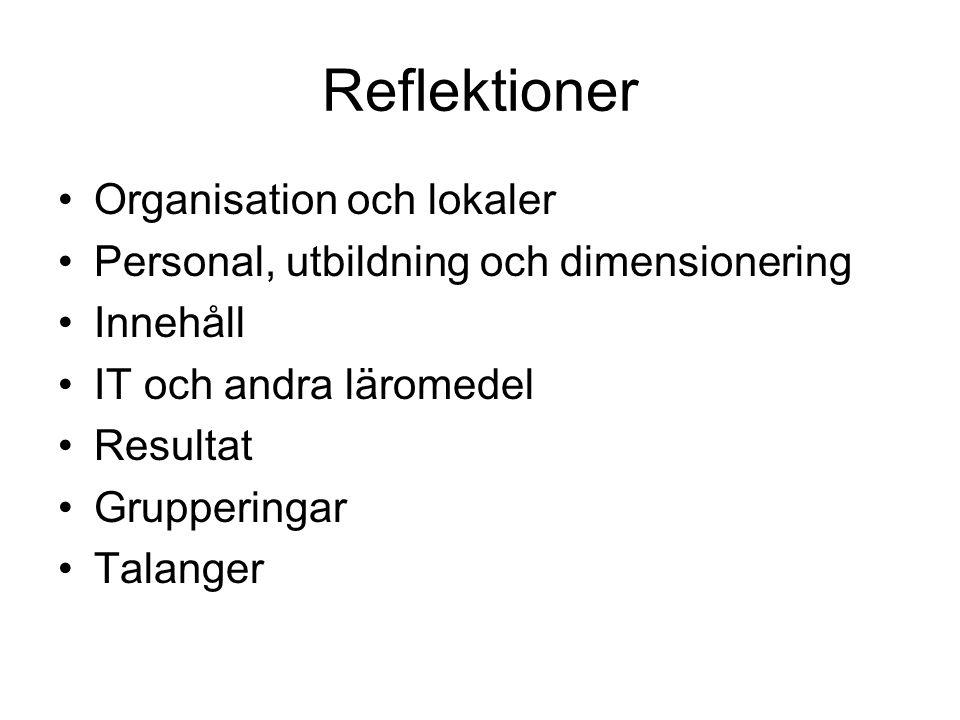 Reflektioner Organisation och lokaler