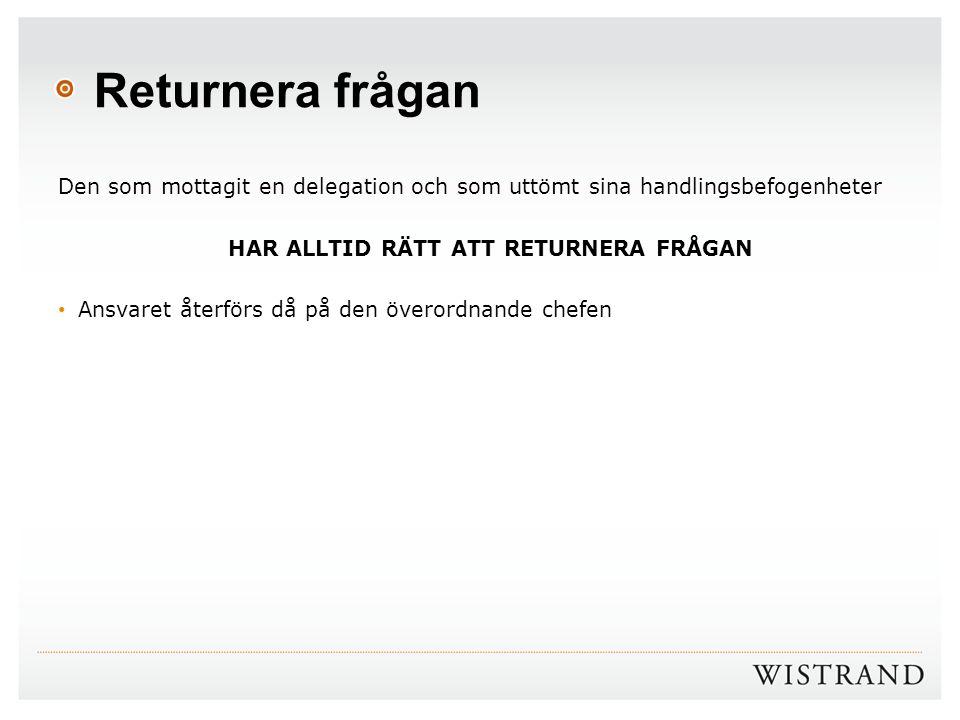 HAR ALLTID RÄTT ATT RETURNERA FRÅGAN
