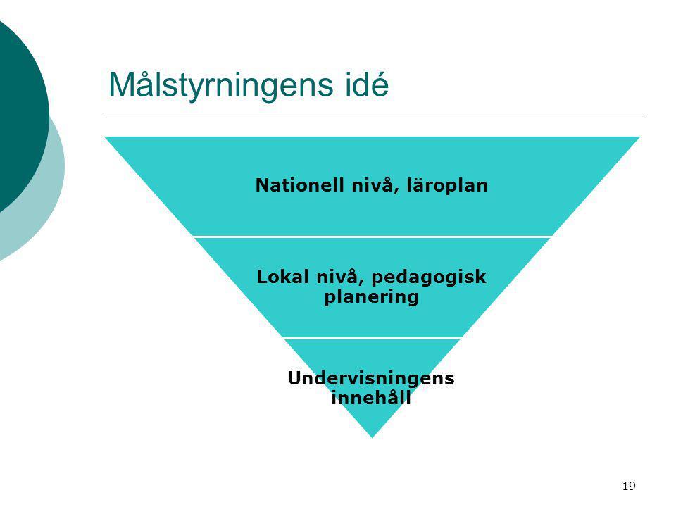 Målstyrningens idé Nationell nivå, läroplan