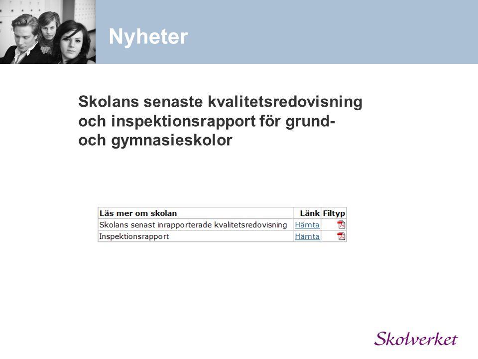Nyheter Skolans senaste kvalitetsredovisning och inspektionsrapport för grund- och gymnasieskolor