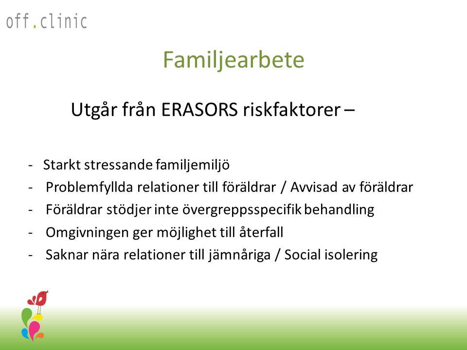 Familjearbete Utgår från ERASORS riskfaktorer –