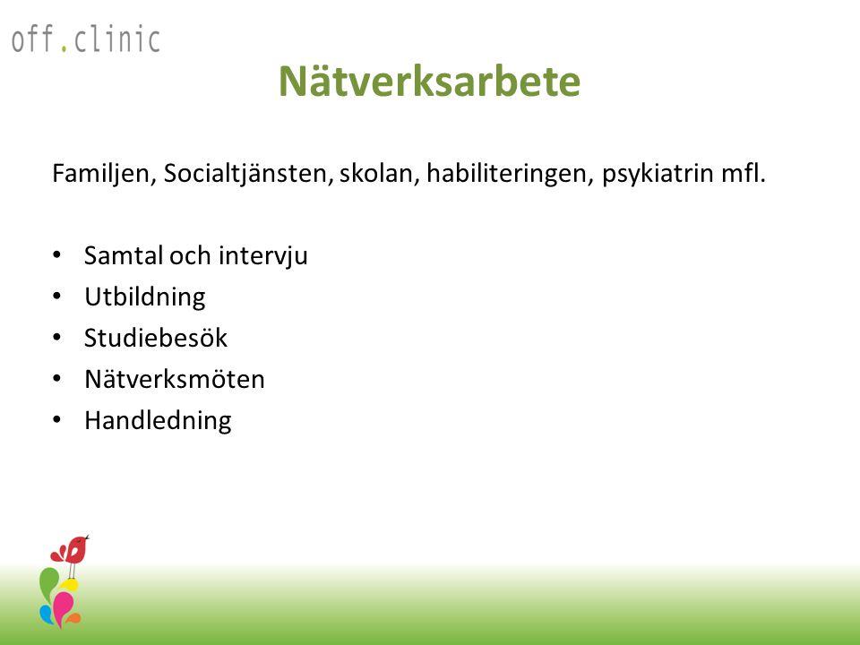 Nätverksarbete Familjen, Socialtjänsten, skolan, habiliteringen, psykiatrin mfl. Samtal och intervju.