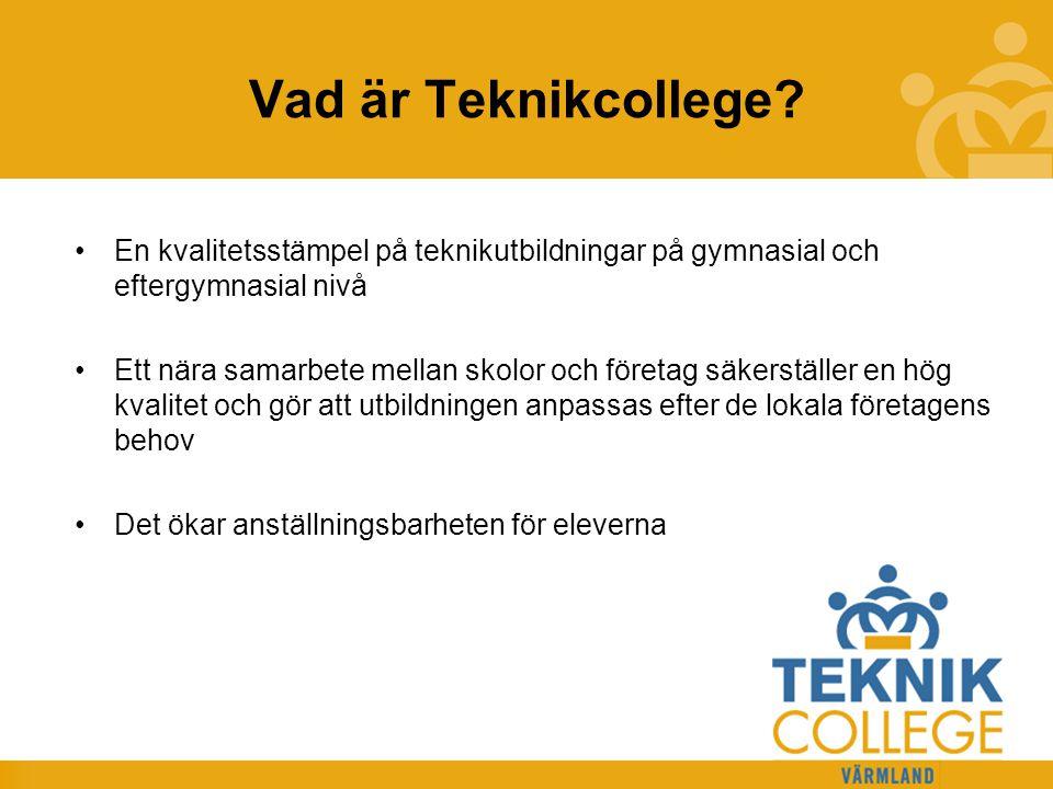 Vad är Teknikcollege En kvalitetsstämpel på teknikutbildningar på gymnasial och eftergymnasial nivå.