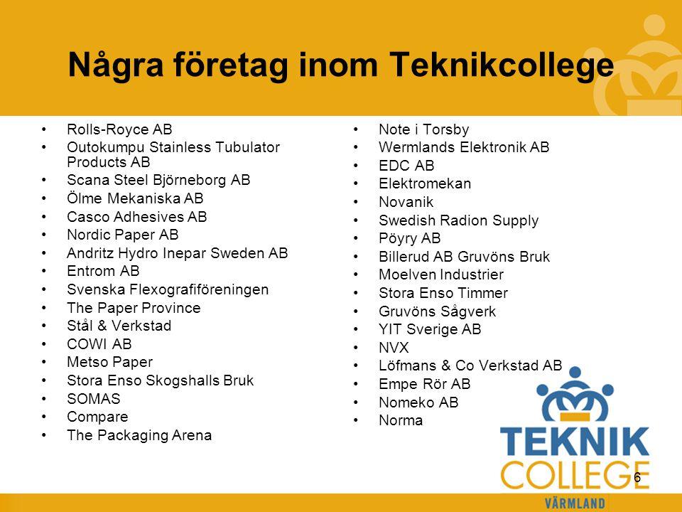 Några företag inom Teknikcollege