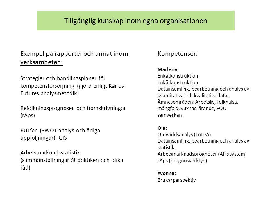 Tillgänglig kunskap inom egna organisationen